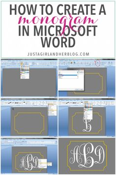 This tutorial teaches you how to create a pretty monogram in Microsoft Word! I can't believe how easy it is! Click through to the post for the full tutorial!