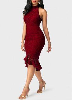Sleeveless Mock Neck Peplum Hem Burgundy Sheath Dress