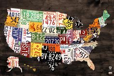 License Plate Map Of The United States - Warm Colors / Black Edition Mixed Media