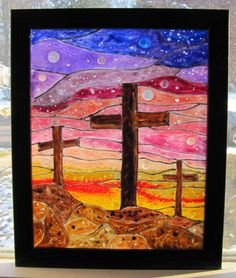 Three Crosses at Sunset Stained Glass  by BellesUniqueBoutique, $44.99