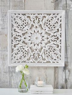 White Wood Wall Decor this dramatic wall panel finished in antique white is very heavy