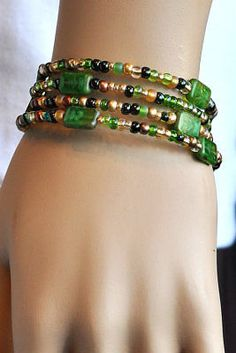 Green - Beaded - Bangle - Boho - Memory Wire Bracelet