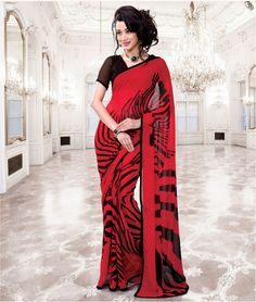 Red and Black Georgette Casual Saree for Women