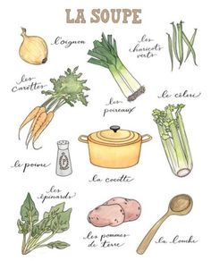 La Soupe - ingredients of a soup in French - en français