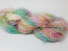 Hot Ice, Blue, Pink, Green, ColorPurl Adore, Speckles, Hand Dyed Yarn, Superfine Kid Mohair, Mulberry Silk, Fingering, 273 yards, 50 grams by ColorPurl on Etsy