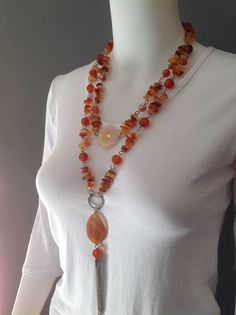 Long double strand gemstone necklace. Carnelian chips and beads, fire agate focals and small beads, chain tassel - Michela Rae