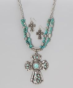 Take a look at this Turquoise & Silver Bling Cross Earrings & Necklace by Gabrielle Jewelry on #zulily today! $12 !!