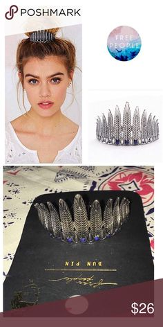 Free People Kitsch Feather Bun Pin w/ Lapis stones Give your messy bun instant style with this seasons go-to accessory. Done in an antique silver finish & lapis blue accent stones, this bun Pin gives the finishing tough to any top knot. Free People Accessories Hair Accessories