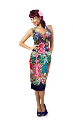 0f0887cce9bb  Frida met La Catrina  Vintage 50 s Style Halterneck Pencil Dress