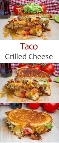 Taco Grilled Cheese Sandwich Omg two of my favourite things! Tacos and grilled cheese! I Love Food, Good Food, Yummy Food, Tasty, Soup And Sandwich, Sandwich Recipes, Grilled Sandwich Ideas, Salmon Sandwich, Chicken Sandwich