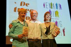ABC-yourselfauteurs Steef van Gorkum (De twee jaar nadat) en Djoeke Ardon (Iemand die terugzwaait) met uitgever Boele van Hensbroek