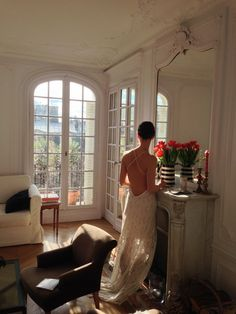 Stunning wedding dresses by Vancouver designer Elika In Love, shot in a Haussmann building in the arrondissement in Paris. The backless wedding dresses look beautiful against Stunning Wedding Dresses, Designer Wedding Dresses, Parisian Apartment, Vancouver, Behind The Scenes, Lace Skirt, Backless, Editorial, Photoshoot