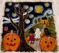 """Halloween Night"" hand hooked by Mayumi Takahashi"