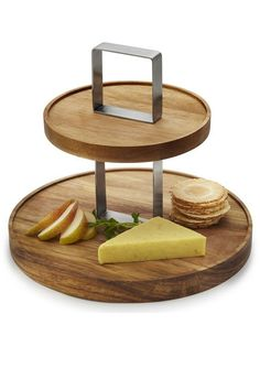 Salt & Pepper Fromage Serving Stand 2 Tier mediterranean-serving-dishes-and-platters Wooden Serving Platters, Serving Dishes, Serving Board, Diy Cutting Board, Wood Cutting Boards, Diy Wood Projects, Woodworking Projects, Wooden Cake Stands, Bois Diy