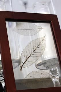 Put leaves in baking soda and water until they become translucent. Put in a picture frame or use for some other decoration.