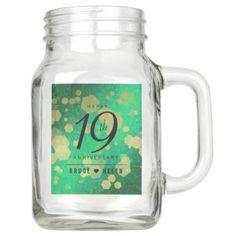 Elegant 19th Jade Wedding Anniversary Celebration Mason Jar - elegant gifts gift ideas custom presents