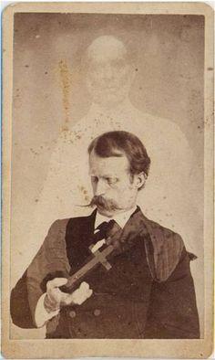 1860's, [carte de visite spirit portrait with Harry Gordon, first American medium credited with levitation], William Mumler