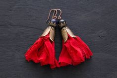 Recycled Sari Earrings Red Tassel Earrings by MusingTreeStudios