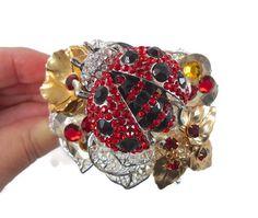 Ladybug Cuff Bracelet   Vintage Assemblage by InVintageHeaven, $68.00