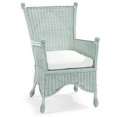 Beehive Wicker Accent Chair, Sky Blue - Accent Chairs - Chairs - Living Room - Furniture One Kings Lane Indoor Wicker Chairs, Porch Chairs, Outdoor Chairs, Outdoor Rooms, Rattan Chairs, Outdoor Patios, Wicker Sofa, Outdoor Kitchens, Outdoor Areas