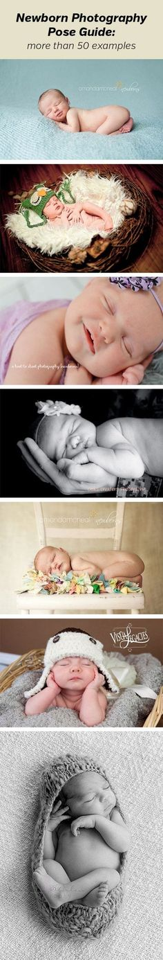 Newborn Photography Pose Guide - shows more than 50 examples of different poses.  Photography