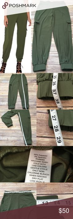 Size XS Lisa Rinna Olive Green Cargo Jogger Pants • Measurements are in photos  • Material tag is in photos • No flaws • tapered joggers  • side pockets  • Waist Band  E2/65  Thank you for shopping my closet! Lisa Rinna Pants Ankle & Cropped