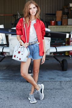 silk bomber jacket with casual outfit and sneakers