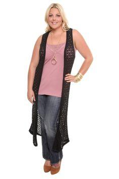 Modern Kiwi Open Knit Asymmetrical Hem Vest Gray One Size Modern ...