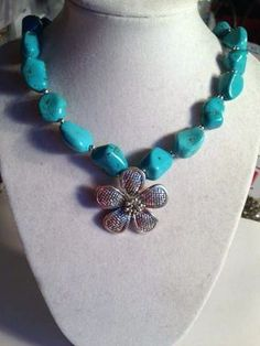 Turquoise Necklace Silver Jewelry Gemstone Jewellery by cdjali, $36.00