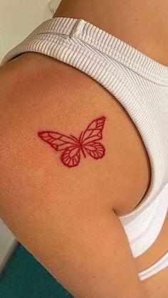 Red Ink Tattoos, Dainty Tattoos, Pretty Tattoos, Cute Tattoos, Red Lips Tattoo, Pink Tattoo Ink, Black Red Tattoo, Red Flower Tattoos, Mini Tattoos