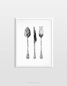 In one copy monotype black and white kitchen utensils original art housewarming gift special for your dining and kitchen room. Kitchen Prints, Food Illustrations, Kitchen Utensils, Original Art, Black And White, Unique Jewelry, Handmade Gifts, Kitchens, Vintage