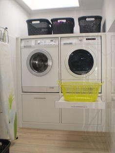 De standaard wasmachinekast ingebouwd.