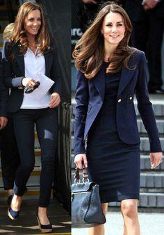 Kate Middleton é fã do azul marinho: uma de de suas cores favoritas! Muito presente em seu armário!