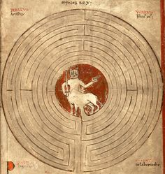 labyrinth of the Minotaur Lambert of Saint-Omer, Liber Floridus, Saint-Omer 1121. Universiteitsbibliotheek Gent, Hs. 92, fol. 20r