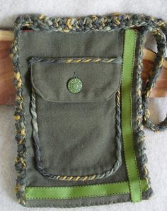 Recycled Jacket Pocket Small Bag Tote Purse Wool & by ZcrochetZ