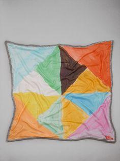 Rhombus painterly style geometric print silk scarf by Ikou Tschūss