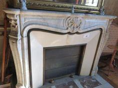 1 cheminée marbre blanc décor coquille