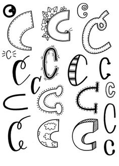 Letter C from Doodle Fonts, Doodle Lettering, Creative Lettering, Lettering Styles, Lettering Ideas, Hand Lettering Practice, Hand Lettering Alphabet, Alphabet Art, Calligraphy Letters
