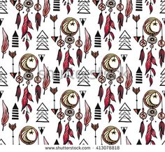 Watercolor hand drawn Dreamcatcher background. Tribal dreamcatcher with bird feathers,arrows,geometric figures and beads, moon and stars seamless pattern. Vector fantasy repeating texture - stock vector