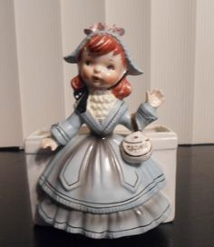 Vintage 1956 Relpo Planter Red Head Girl Reliable Glassware and Pottery