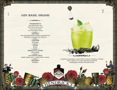 Hendrick's Gin Basil Smash - bei LONG time no DRINK @ lutz - die bar Hendrick's Gin, Alcoholic Drinks, Cocktails, Glass Rocks, Basil Leaves, Bar, Craft Cocktails, Liquor Drinks, Cocktail