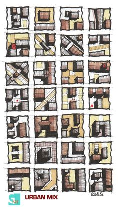 'Urban Mix'. Pattern and edges of Urban Design Shapes. Architectural Drawing by Glen CRAIG.