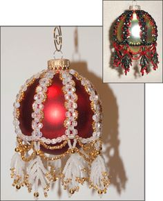 """Alice"" Beaded Christmas Ornament Cover Pattern by Alicia Mera Sova at Bead-Patterns.com"