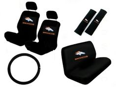 11 Piece NFL Auto Interior Gift Set - Denver Broncos - A Set of 2 Seat Covers, 1 Rear Bench Cover, 1 Steering Wheel, and A Set of 2 Seat Belt Pads by A P Products, http://www.amazon.com/dp/B004C4AAXM/ref=cm_sw_r_pi_dp_wi74qb08FRJEQ