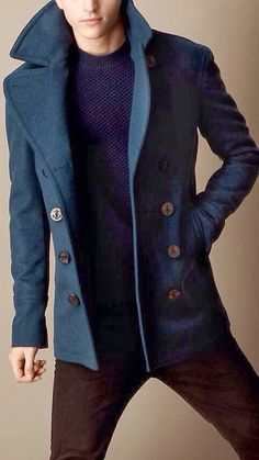 Great coat and sweater for True and Soft Summer men. I'd be so occupied admiring the top half that wishing the pants were more bark and less rust might not even register.