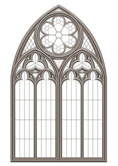 Bекторная иллюстрация Medieval Gothic stained glass window