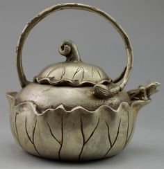 Collectible Decorated Old Handwork Tibet Silver Carved Big Maize Tea Pot