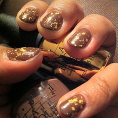 Fall manicure: Wooden Shoe Like To Know + The Man With The Golden Gun + matte top coat #opi #nails #nailart