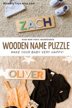 Baby Name Puzzle by WoodilyToys. Personalized name puzzle is the best wooden toy for a baby. Eco-friendly Montessori toys. Handcrafted in the USA. Engraved Baby Gift Boy's Name Puzzle Gift for Godchild New Baby Boy Baptism Gift New Born Montessori Puzzle Gift Godson Name Dedication. 1st Christmas gift, Baby Christmas gift, Personalized Christmas baby gift, Kids Christmas gift #busypuzzle #kidstoy