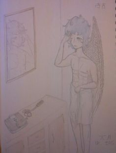·Why Won't My Hair Dry·  Practicing drawing more skin. Kojun looks much smaller with his actual clothes on, doesn't he?